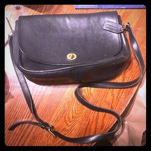 90s Vintage Coach City Navy Leather Purse